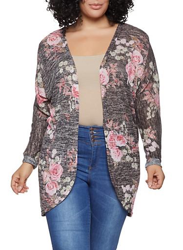 Plus Size Floral Knit Cardigan,BLACK,large