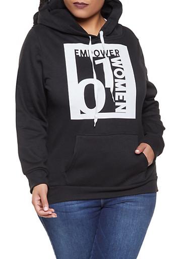 Plus Size Empower Women Graphic Sweatshirt,BLACK,large