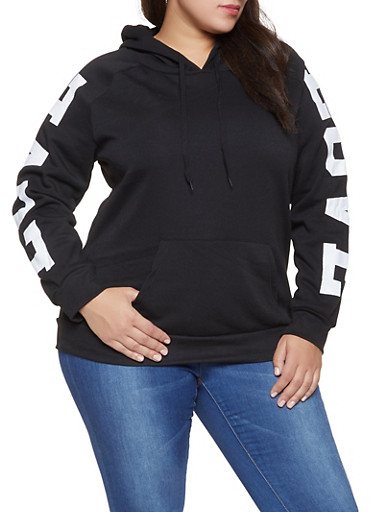 Plus Size Love Graphic Sleeve Sweatshirt,BLACK,large