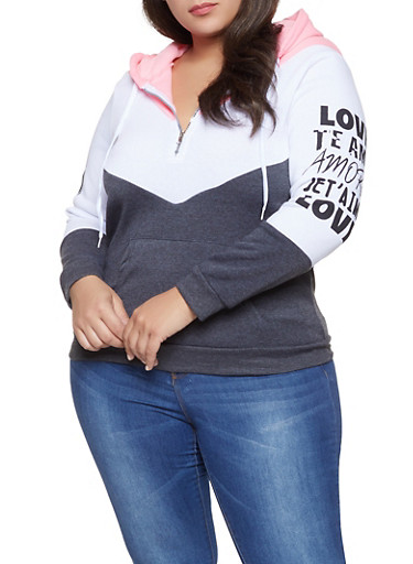 Plus Size Love Graphic Color Block Sweatshirt,CHARCOAL,large