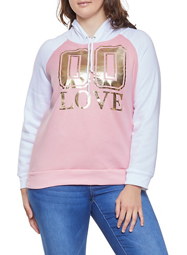 Plus Size Foil Graphic Color Block Sweatshirt,WHITE,large