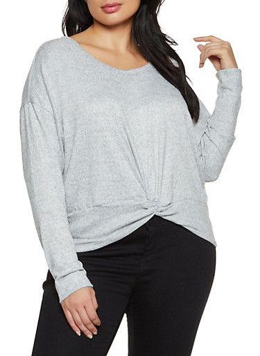 Plus Size Knotted Hem Brushed Knit Top,CHARCOAL,large