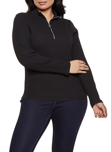 Plus Size Half Zip Ribbed Knit Top,BLACK,large