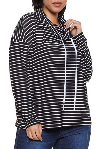 Plus Size Striped Cowl Neck Top,BLACK/WHITE,large