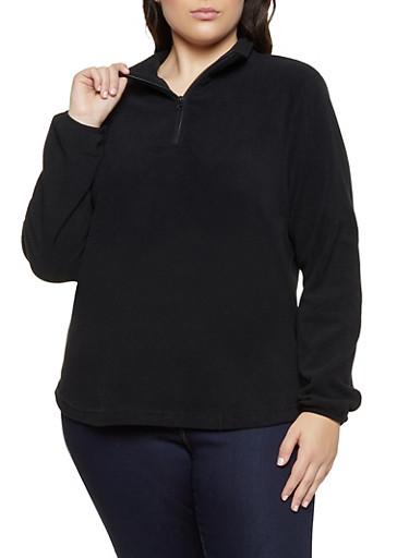 Plus Size Half Zip Fleece Sweatshirt,BLACK,large