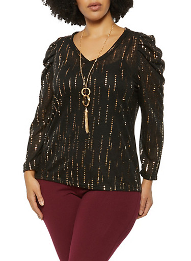 Plus Size Puff Sleeve Foil Print Top with Necklace,BLACK,large