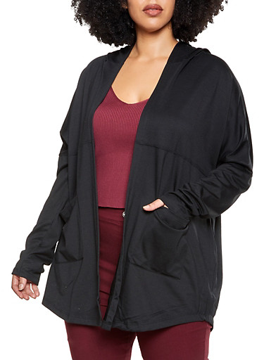 Plus Size Hooded Two Pocket Cardigan,BLACK,large