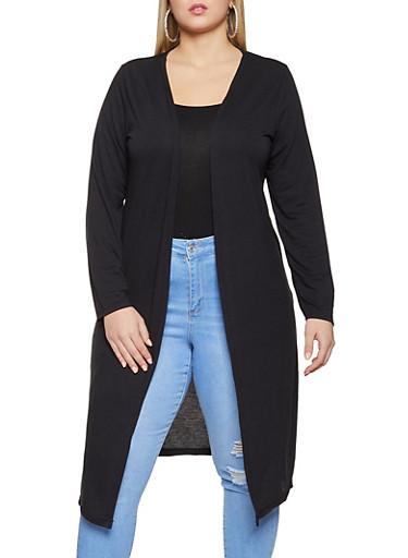 Plus Size Side Slit Long Sleeve Duster,BLACK,large