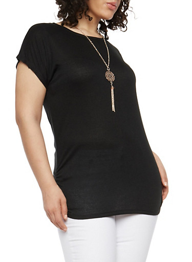 Plus Size Ruched Side Top with Necklace,BLACK,large