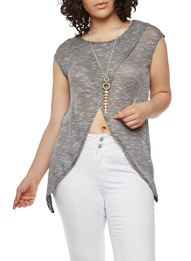 Plus Size Asymmetrical Hem Knit Top with Necklace,BLACK,large
