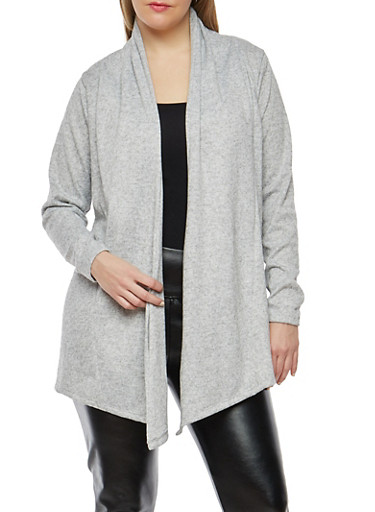 Plus Size Drape Front Cardigan,GRAY,large