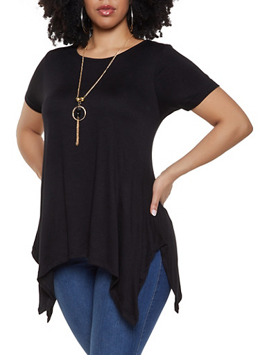 Plus Size Scoop Neck Tee with Necklace,BLACK,large