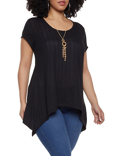 Plus Size Rib Knit Asymmetrical Tee with Necklace,BLACK,large