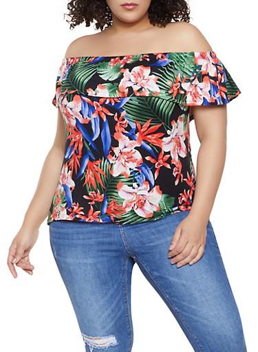 Plus Size Floral Print Off the Shoulder Top,BLACK,large