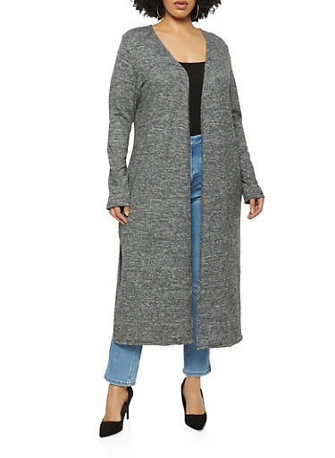 Plus Size Side Slit Knitted Duster,CHARCOAL,large