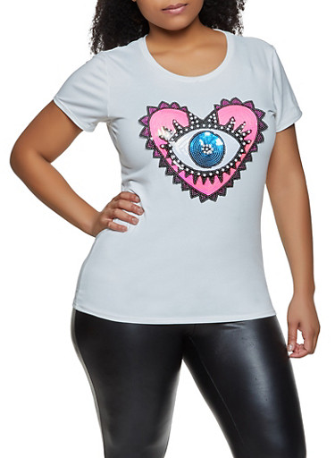 Plus Size Sequin Heart Eye Tee,WHITE,large