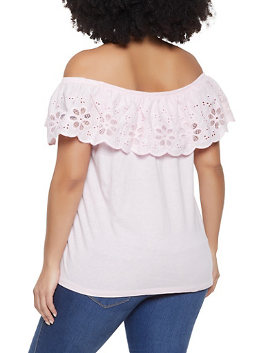 76f6548721372 Plus Size Off the Shoulder Eyelet Top - Rainbow