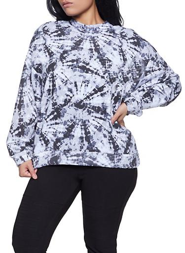 Plus Size Tie Dye Mock Neck Sweatshirt,BLACK/WHITE,large