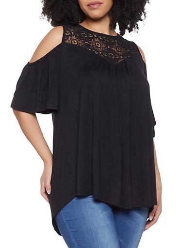Plus Size Crochet Yoke Cold Shoulder Top,BLACK,large