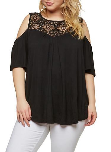 Plus Size Crochet Trim Cold Shoulder Top,BLACK,large