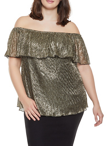 Plus Size Shimmer Knit Ruffled Off the Shoulder Top,GOLD,large
