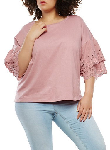 Plus Size Eyelet Tiered Sleeve Top | Tuggl