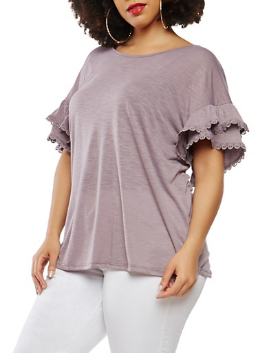 Plus Size Tiered Sleeve Top with Crochet Trim,PURPLE,large