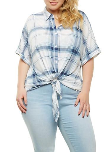 Plus Size Plaid Tie Front Shirt,BLUE,large