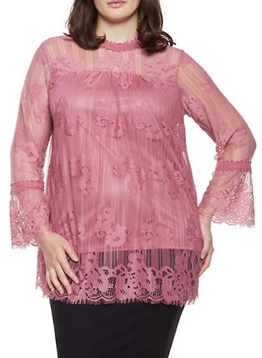Plus Size Bell Sleeve Lace Top,MAUVE,large