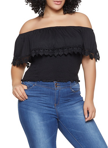 Plus Size Smocked Crochet Trim Off the Shoulder Top,BLACK,large