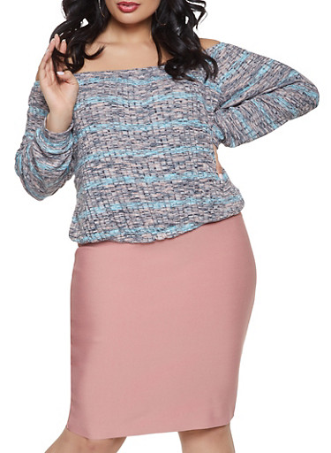 Plus Size Striped Off the Shoulder Top,PINK,large