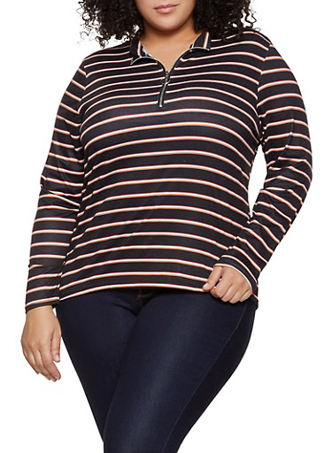 Plus Size Striped Zip Neck Top,BLACK,large