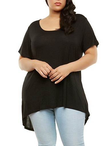 Plus Size Split Back High Low Tunic Top,BLACK,large