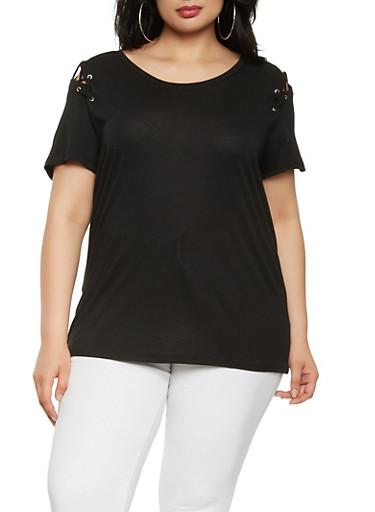 Plus Size Lace Up Shoulder Tee,BLACK,large