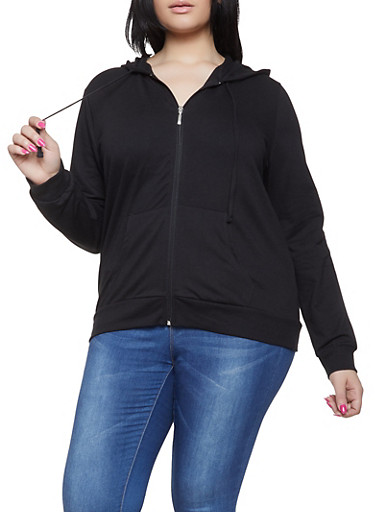 Plus Size Zip Up Hooded Sweatshirt,BLACK,large