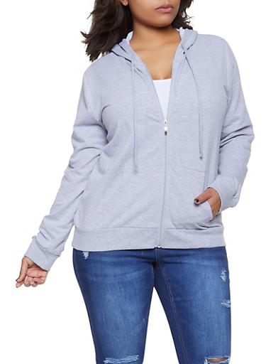 Plus Size Zip Up Hooded Sweatshirt,GRAY,large