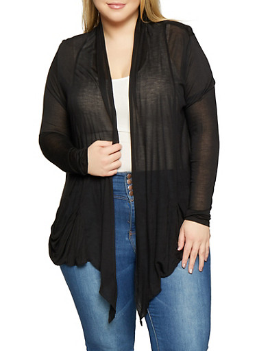 Plus Size Drape Front Cardigan,BLACK,large