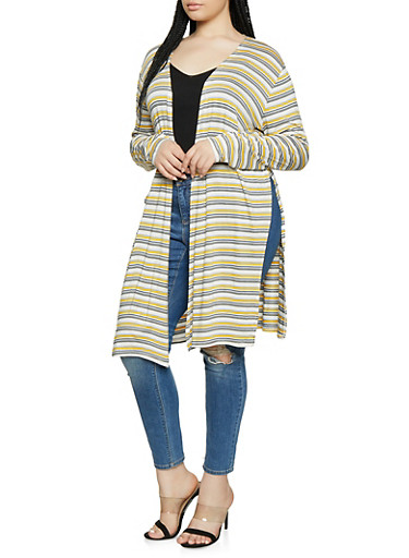 Plus Size Striped Side Slit Duster | 1912054262442,MUSTARD,large