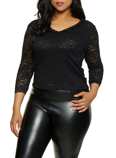 Plus Size Lace V Neck Top,BLACK,large
