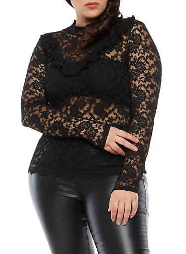 Plus Size Ruffle Trim Sheer Lace Top,BLACK,large