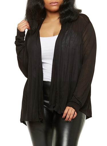 Plus Size Lightweight Cardigan,BLACK,large