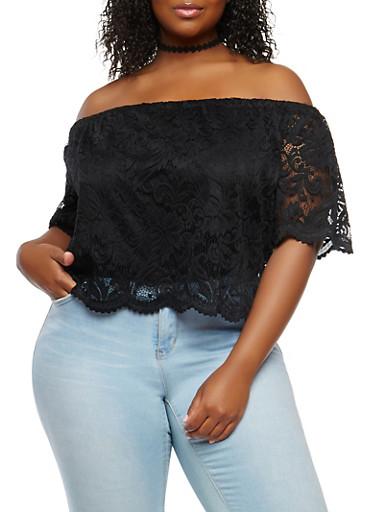 Plus Size Lace Off the Shoulder Top,BLACK,large