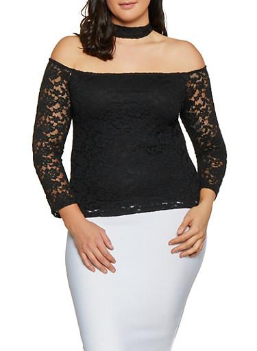 Plus Size Choker Neck Off the Shoulder Lace Top,BLACK,large