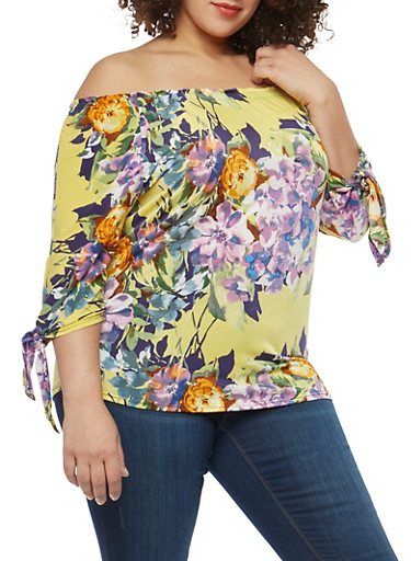 Plus Size Floral Tie Sleeve Off the Shoulder Top,YELLOW,large
