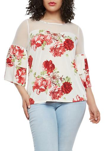 Plus Size Floral Mesh Tier Sleeve Top,BEIGE,large