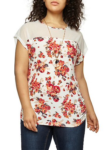 Plus Size Mesh Yoke Floral Top with Necklace,IVORY,large