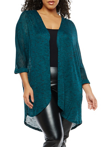 Plus Size Marled Knit Open Front Cardigan,JADE-BLACK,large