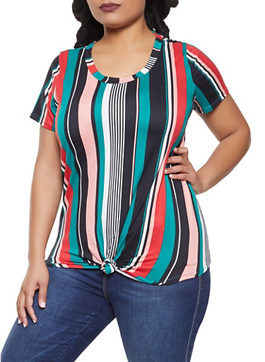Plus Size Striped Tie Front Tee,TEAL,large