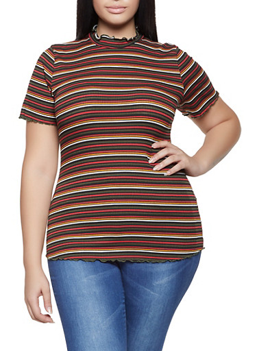 Plus Size Lettuce Edge Striped Tee,OLIVE,large