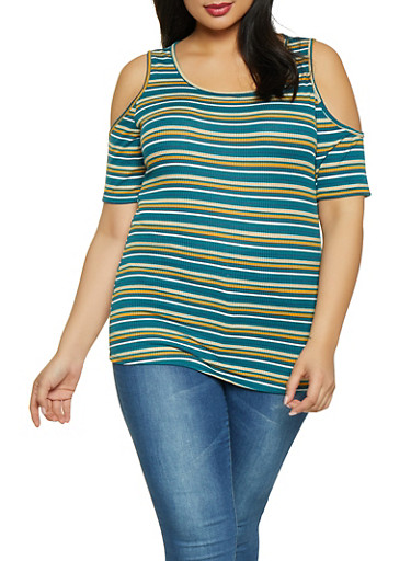 Plus Size Striped Cold Shoulder Top,NAVY,large